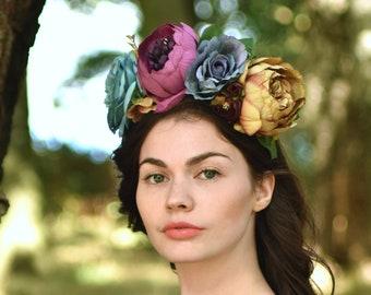 Juniper Flower Crown Headpiece in Blue and Purple