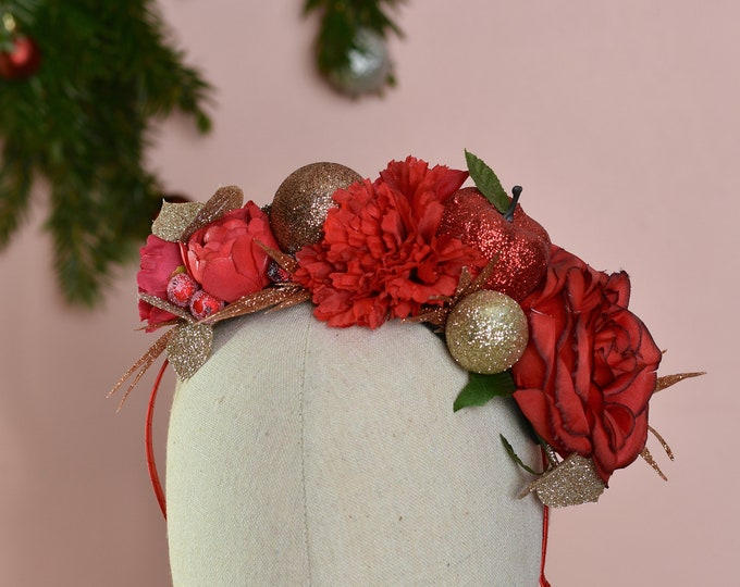 Festive Half Flower Crown in Red Copper and Gold No.13