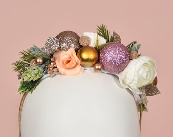 Festive Half Flower Crown  and Bauble Christmas Headband in Pink and Gold