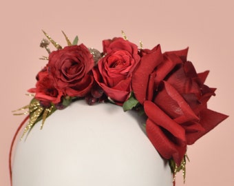 Berry - Festive Half Flower Crown in Red and Gold