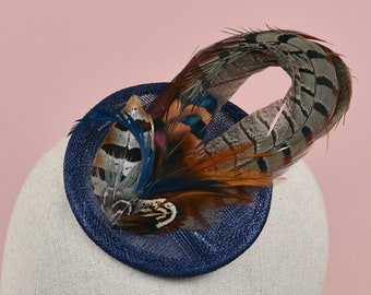 Navy Blue Pheasant Feather Fascinator