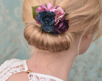 Silk Flower Hair Clip in Purple and Navy Blue Roses and Ranunculus