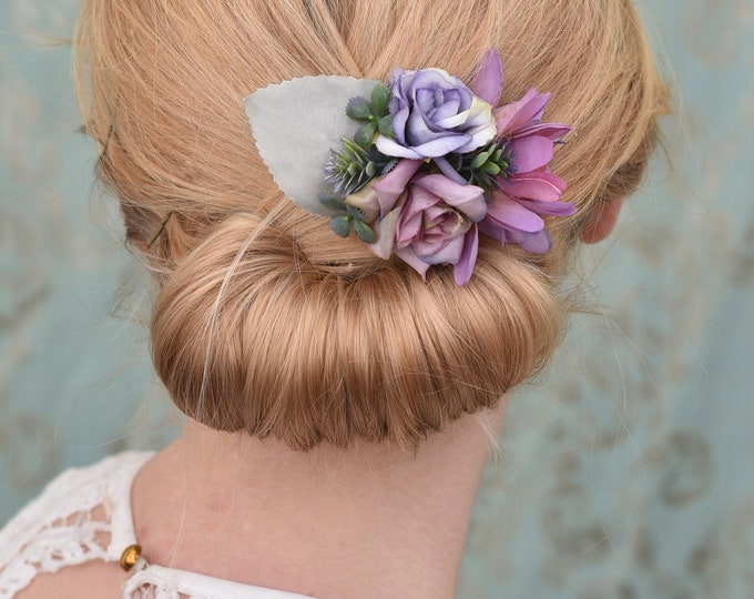 Silk Flower Hair Clip in Dusty Purple and Silver Grey