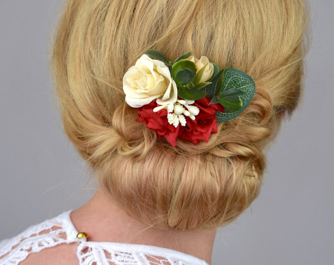 Silk Flower Hair Clip in Red and Ivory Roses