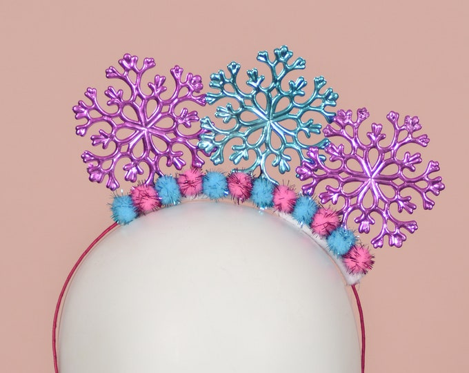 Festive Christmas Snowflake Headband in Pink and Blue