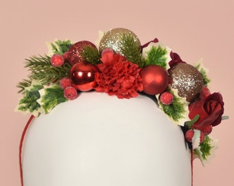 Festive Half Flower Crown  and Bauble Christmas Headband in Red and Gold