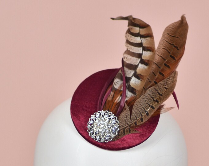 Feather Fascinator in Plum Silk and Copper Pheasant Feathers with Vintage Rhinestone Brooch Detail | Plum Feather Hat | Wedding Fascinator