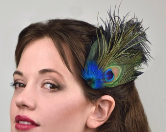Black Ostrich and Peacock Feather Fascinator
