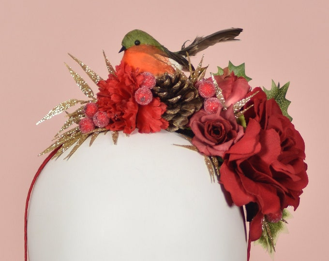 Robin - Festive Half Flower Crown in Red and Gold
