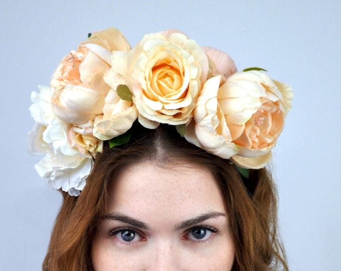 Juliet - Blush Pink Bridal Flower Crown Headpiece