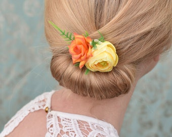 Tropical Orange and Yellow  Flower Hair Clip