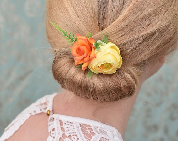 Tropical Orange and Yellow Silk Flower Hair Clip