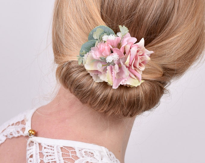 Blush Pink and White Flower Hair Clip