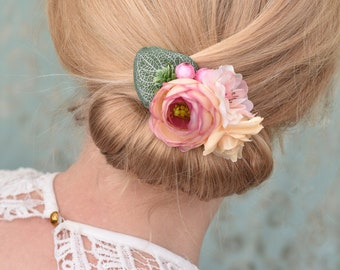 Flower Hair Clip in Pink and Ivory