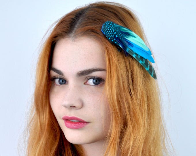 Festival Feather Hair Clip in Turquoise and Blue