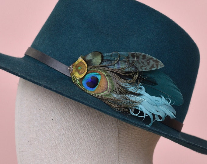Green Peacock and Pheasant Feather Hat Pin / Lapel Pin No.206