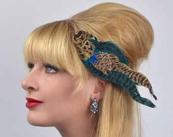 Turquoise Blue and Hen Pheasant Feather Hair Clip Fascinator