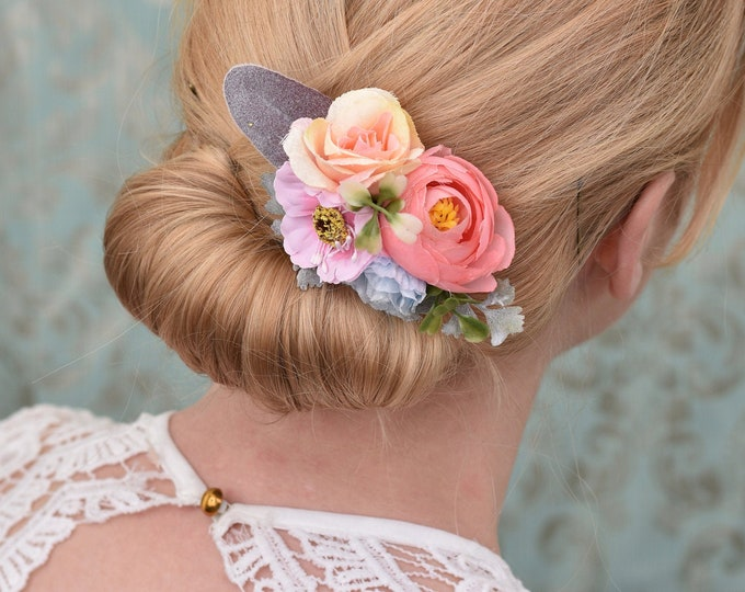 Silk Flower Hair Clip in Pastel Peach, Pink and Blue