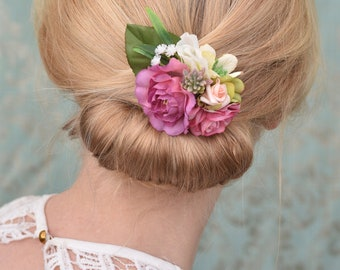 Rose and Peony Flower Hair Clip in Pink and White
