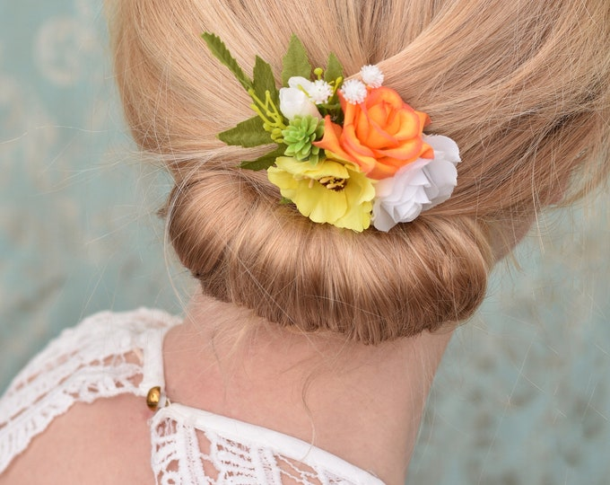 Orange, Yellow and White Flower Hair Clip