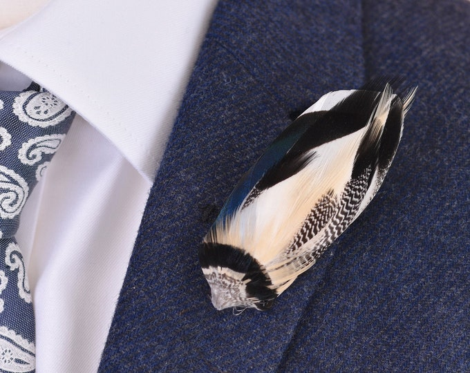 Navy Blue Duck Feather Lapel Pin