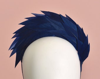 Navy Blue Spiked Feather Halo Headband