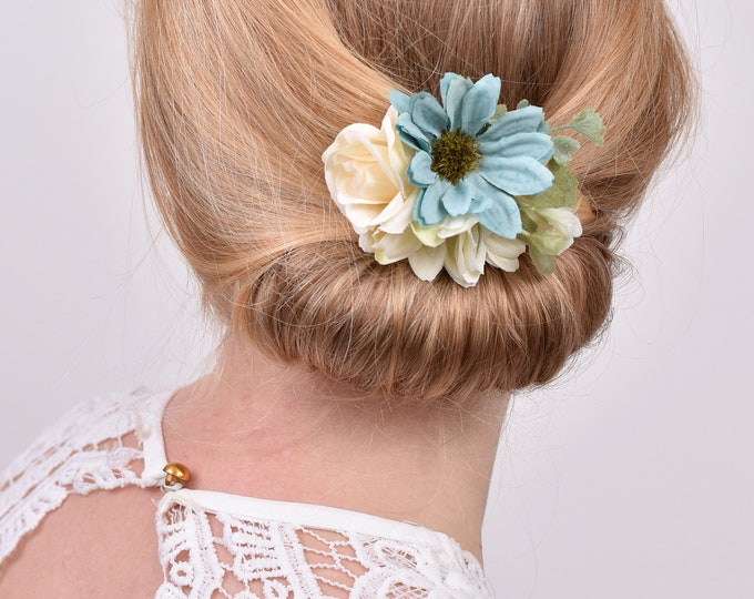 Silk Flower Hair Clip in White and Blue