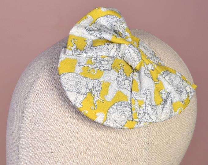 Mustard Yellow Elephant Print Mini Bow Fascinator   Wedding Hat   Quirky Fascinator   Wedding Fascinator   Mustard Yellow and Grey