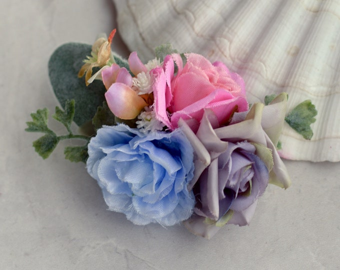 Pastel Blossom Flower Hair Clip in Pink, Blue and Lavender