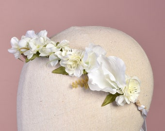 Medium White Bridal Flower Crown Garland