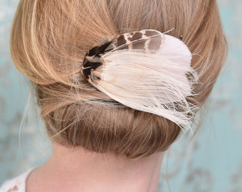 Ivory and Blush Pink Feather Hair Clip No.21