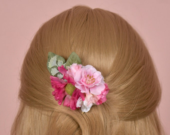 Cherry Blossom Flower Hair Clip in Pinks and White