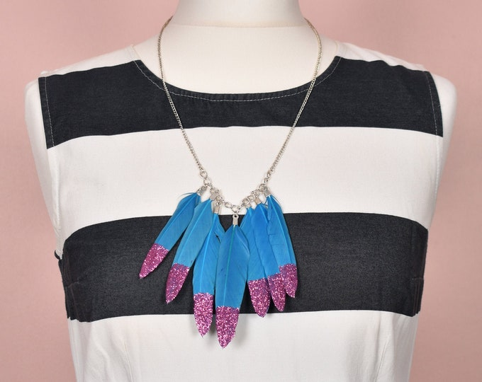 Feather Necklace in Turquoise Blue and Pink Glitter Tips