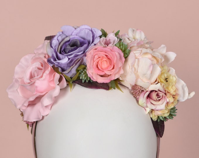 Deluxe Pastel Flower Crown Headband in Pink, Lilac and Pale Yellow
