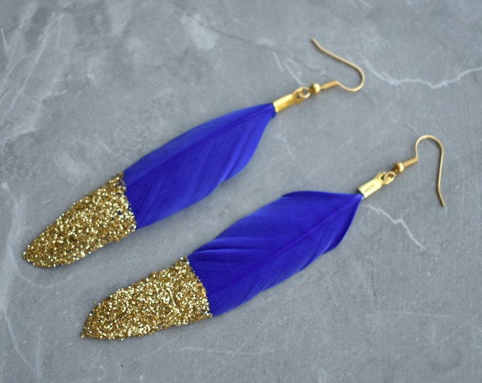 Royal Blue Feather Earrings with Gold Glitter Tips