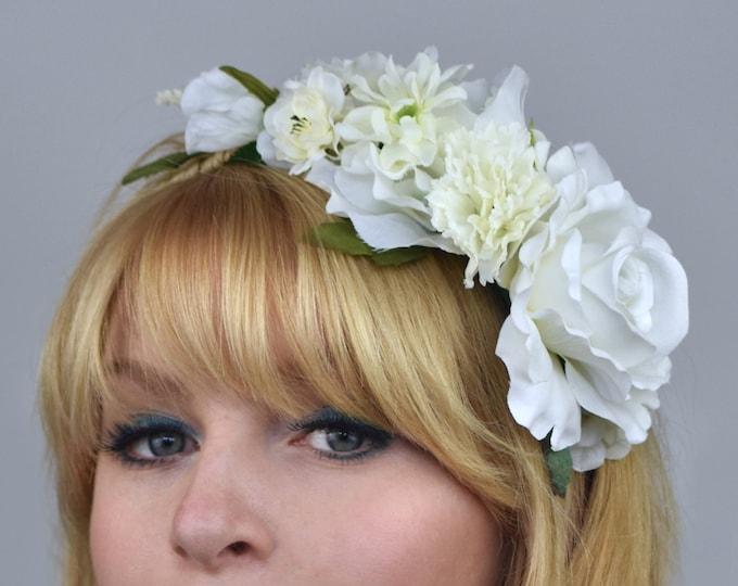 White  Rose Bridal Flower Crown Garland