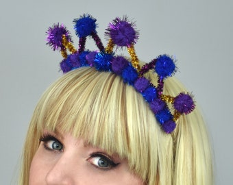 Tinsel Crown Headband in Purple, Gold  and Blue