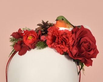 Festive Half Flower Crown in Red and Gold with Robin