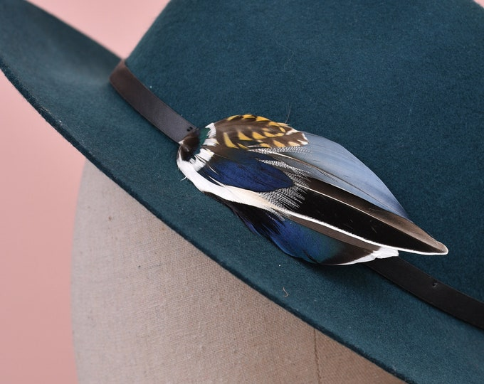 Navy Blue and Grey Duck Feather Lapel Pin / Hat Pin No.62