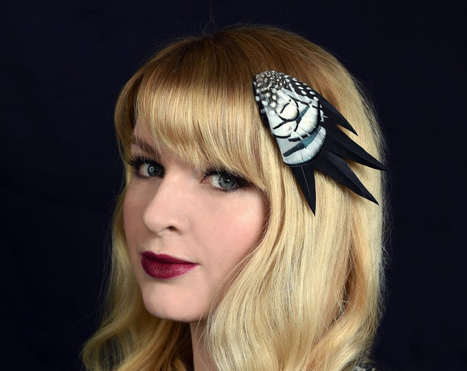 Feather Hair Clip in Monochrome Black and White