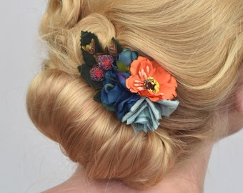 Silk Flower Hair Clip in Navy Blue and Orange
