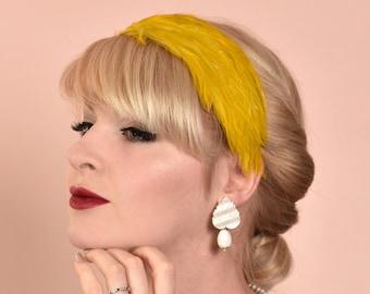 Feather Headband in Golden Mustard Yellow