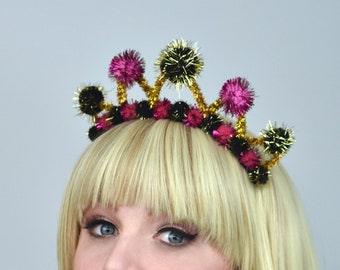 Tinsel Crown Headband in Pink, Black and Gold