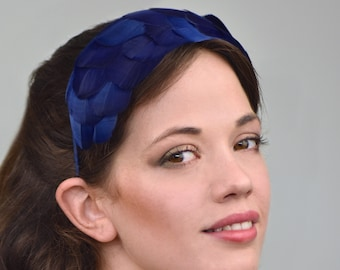 Navy Blue Goose Feather Headband