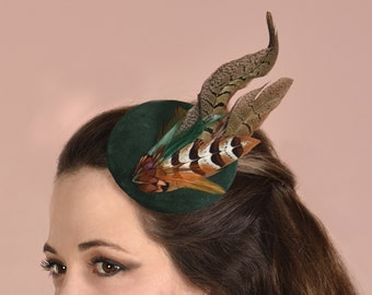 Copper Pheasant Feather Fascinator in Bottle Green Velvet