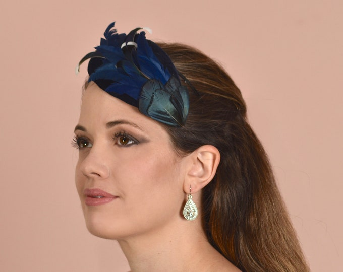Side Perching Teardrop Navy Blue Duck Feather Fascinator
