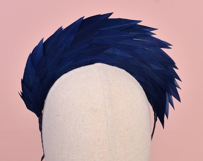 Navy Blue Spiked Feather Halo Headband