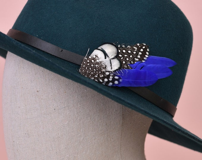 Royal Blue and Monochrome Feather Lapel Pin / Hat Pin
