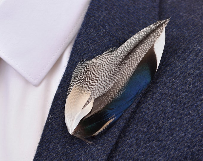 Mallard Feather Lapel Pin in Navy Blue and Grey
