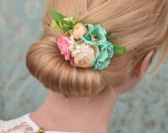 Silk Flower Hair Clip in Peach, Pink and Turquoise